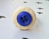 Button Ring - Fun unusual adjustable silver ring with natural stone white and blue recycled buttons - perfect stocking gift