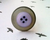 Button Ring - Fun unusual adjustable silver ring with grey and purple recycled buttons - perfect stocking gift