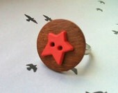 Button Ring - Fun unusual adjustable silver ring with wooden and pink star recycled buttons - perfect stocking gift