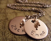 Hand Stamped Children's Name Charm Necklace Made With Stainless Steel Charms And Swarovski Pearls