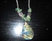 Very Colorful Labradorite and Jade Necklace