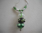 Green Lampwork Glass Necklace