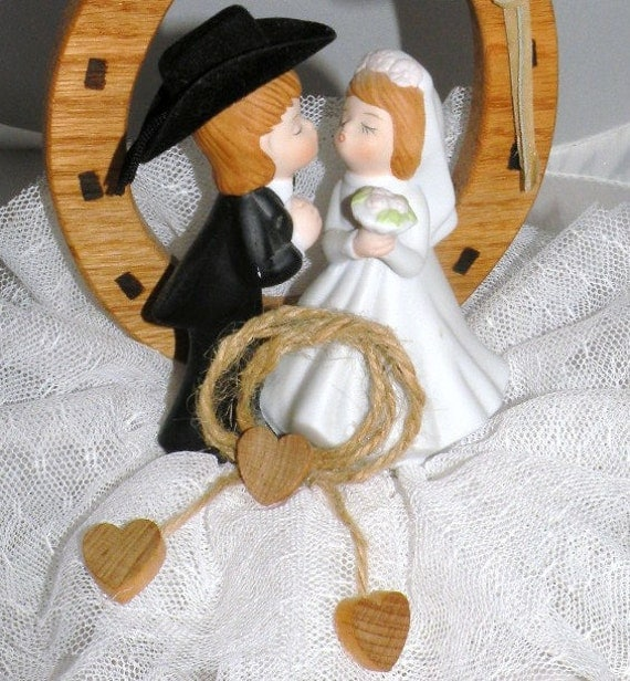 horseshoe wedding cake toppers western wedding cake topper wooden horseshoe and porcelain 15319