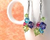 Crystal SWAROVSKI Earrings - Green Purple Blue Fuchsia - Cascade / Chandelier - HYPOALLERGENIC
