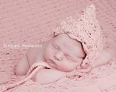 Lace Look Crochet Newborn Pixie Hat Bonnet Organic Cotton - Made to Order