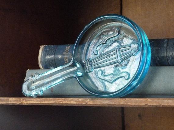 Rare Aqua Blue Glass Banjo Pipe Rest or Suncatcher
