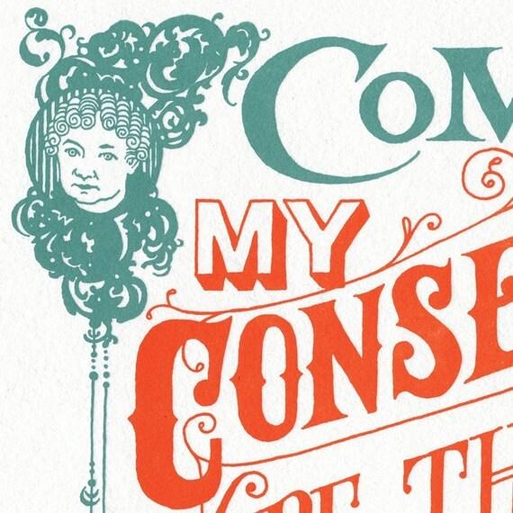 COME COME oversized postcard featuring voting activist Elizabeth Cady Stanton