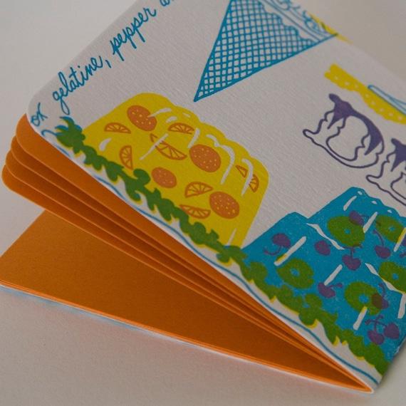 LEMONADE JOURNAL hand-bound blank pocket food journal with Dead Feminist letterpress cover, ORANGE pages
