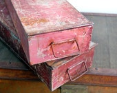 Vintage Metal Bank Deposit Boxes // Vintage Metal Crates // Industrial Metal Bins