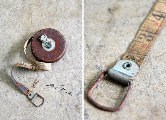 Vintage Industrial Leather Tape Measure