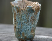 Small Ceramic Vase in Green with Sandy and Scratching Textures