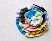 Pin, Rainbow, Multi Color Fabric Flower Brooch, HUGE, Upcycled Vintage Fabric And  Button
