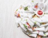 Pin, White Fabric Flower Brooch, HUGE, Shabby Bridal, Country Girl, Upcycled Vintage Fabric And  Button