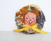 Fabric Pin, Textile And Vintage Animal Doll Head Brooch, HUGE, Upcycled And Vintage Fabric And Ribbon, Fall Colors