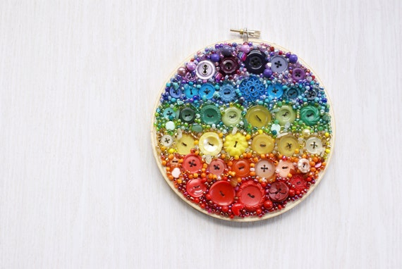 Embroidery Hoop Art, Textile Vintage Button Decor, Button And Bead Fabric Mosaic, Taste The Rainbow, Rainbow Buttons And Beads, Stone Chips