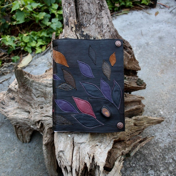 Leather Journal with Boulder Opal - eco friendly OOAK by AriomDesigns