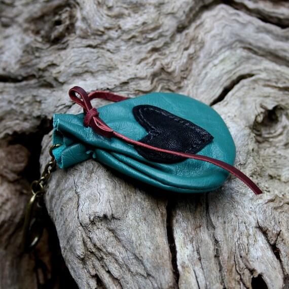 Leather Medicine Bag Key Ring OOAK by Ariom Designs