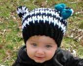 Ready to Ship, Houndstooth Zebra Hat, size 6-12m, infant toddler, ears, crochet photo photography prop