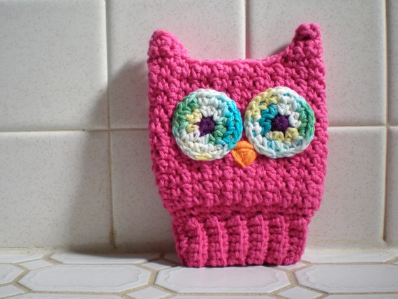 Reserved for danielle-  Scrubba Dubba Owl- Children's Bath Mitt, Kids Washcloth, Crochet Cotton, Pink, Eco-Friendly