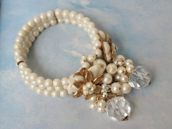"Vintage Beaded Bridal Wedding Bracelet - Haskell Era loaded ""Cha-Cha"" bracelet"