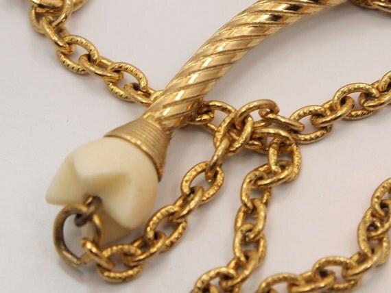 Vintage Necklace - Carved Ivory Spiraled Gold - Tribal Boho