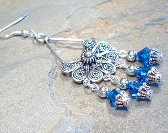 Chandelier and Capri Blue Crystal Earrings