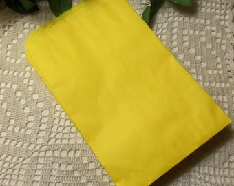 Yellow Gift Bag, Yellow Paper Bag, SALE - 100 Yellow 6x9 Paper Merchandise Bags, Favor Bags, Weddings, Showers, Birthdays, Treats