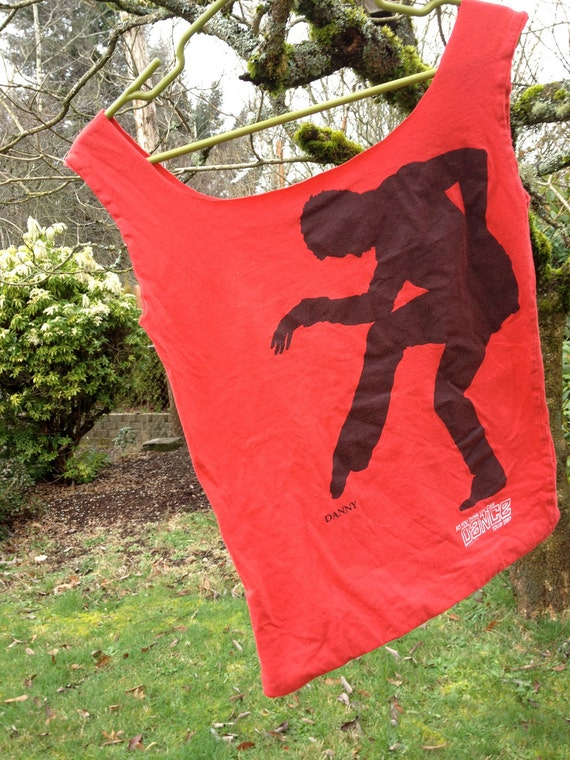 "Upcycled ""So You Think You Can Dance"" tshirt totebag from 2007 tour featuring image of dancer ""Danny"" in red"