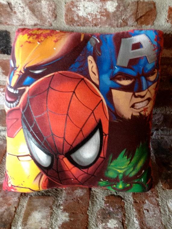 Upcycled handmade Marvel Superhero pillow featuring Spiderman, Wolverine, Ironman, Captain America, and Hulk