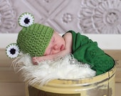 Crochet Frog beanie hat for newborn baby boy and girl photography photo prop - MADE TO ORDER