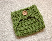 Crochet green fern diaper cover in newborn size for baby boy and girl photography photo prop - MADE TO ORDER
