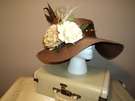 Pheasant Feathers and Pearls Derby Hat