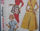 Vintage apron and wrap around dress pattern