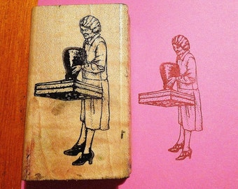 Old Fashioned Lady with Giant Rubber Stamp / Librarian Rubber Stamp