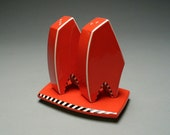 Contemporary Salt and Pepper Shaker Set in Red Orange