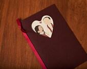 Wedding program - cartoon with heart cut out