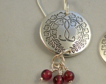 Sterling Silver Etched Japanese Wisteria Kamon Earrings with Garnet Drops