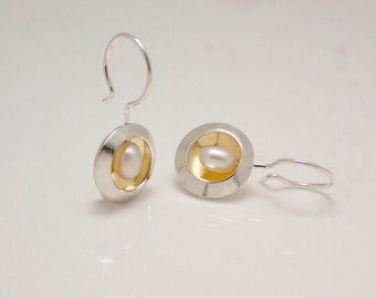 Sterling Silver 18 karat gold oval pearl earrings - June birthstone