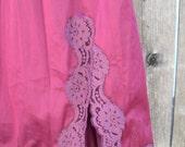RESERVED--Vintage Burgundy Eggplant Color Lace Skirt Slip