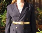 Vintage 1980s Missoni Midnight Dark Blue Blazer with Gold Buttons