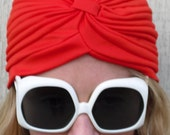1970s Vintage Red Turban Hat