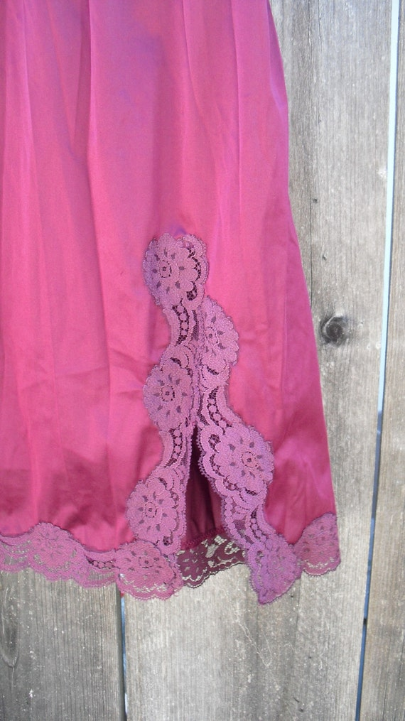 RESERVED--Vintage Burgundy Eggplant Color Lace Skirt Slip