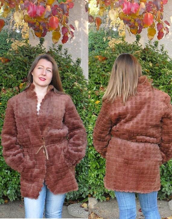 Vintage REVERSIBLE Brown Fur and Gold Coat