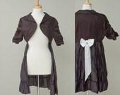 Women's upcycled vintage black bolero jacket dress size M