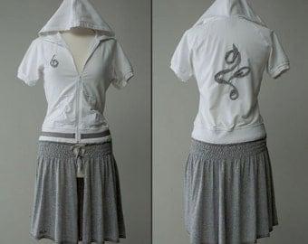 Women's repurposed hooded cotton jersey zip jacket size S