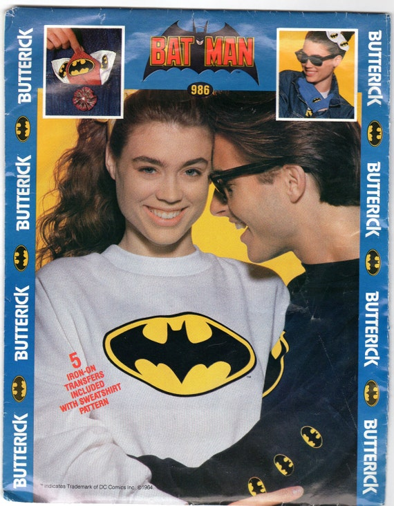Batman Sweatshirt Pattern with Iron-on Transfers- Butterick 986- X-Small, Small, Medium, Large, XLarge