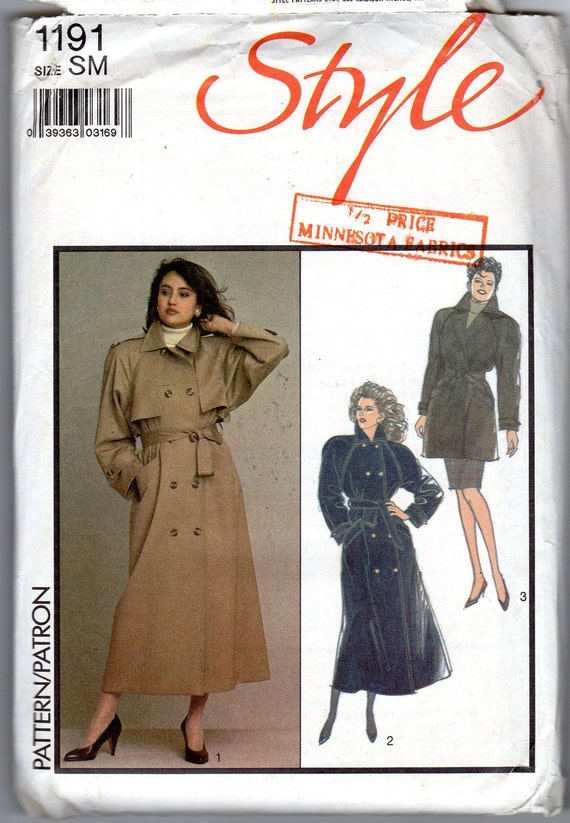 1980s Women's Trench Coat Pattern - Size Small - Style 1191