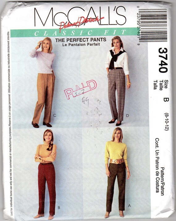 Misses' Classic Pants Pattern - Size 8, 10, 12 - McCall's 3740