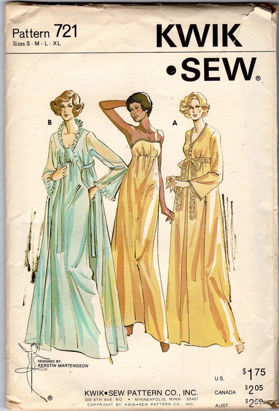 "Women's Nightgown & Peignoir Pattern - Size X-Large, Bust 43"", 45"" - Kwik Sew 721"