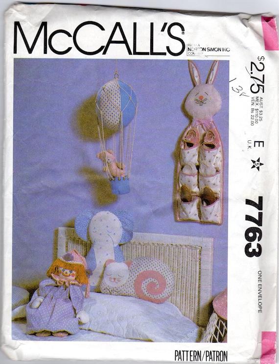 Nursery Craft Decor Pattern - Bunny Shoe Bag, Clown Pajama Bag, Hot Air Balloon, Teddy Bear, Elephant, Cat - McCall's 7763